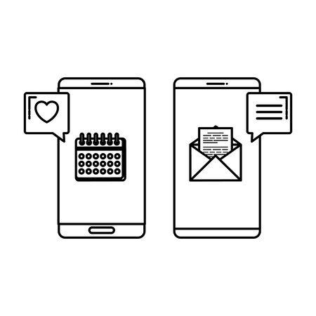 smartphones with social media app and calendar vector illustration design Illusztráció