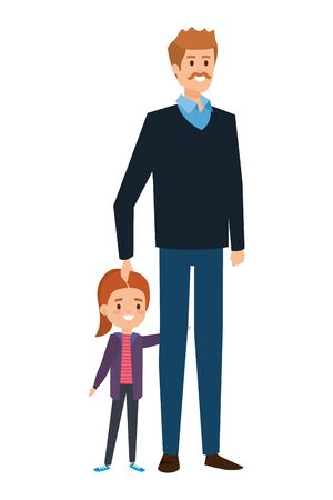 adult father with mustache and daughter vector illustration design