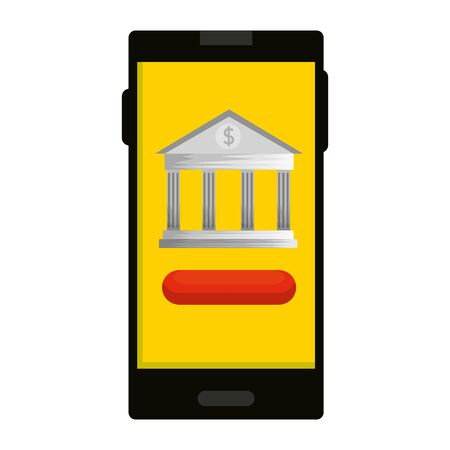smartphone with bank building app vector illustration design