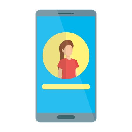 woman acount social in smartphone device character vector illustration design Ilustrace