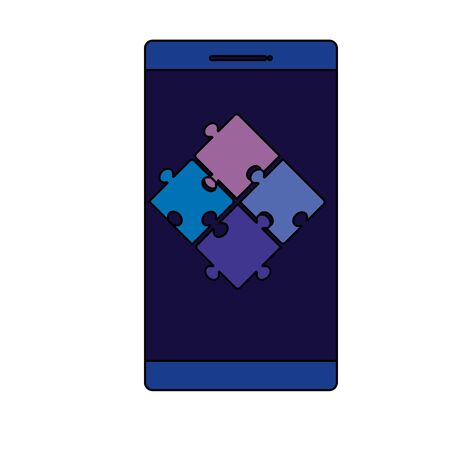 smartphone device with puzzle pieces vector illustration design