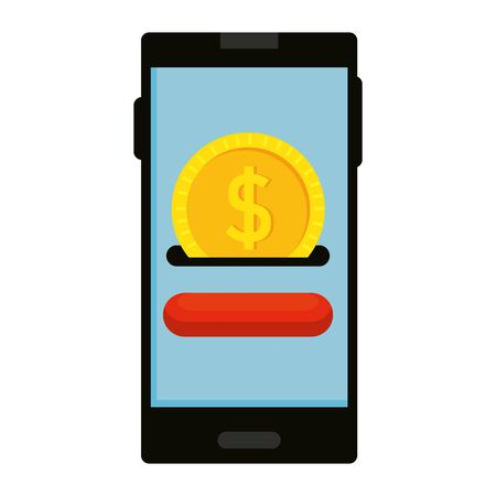 smartphone with coin money dollar vector illustration design 일러스트
