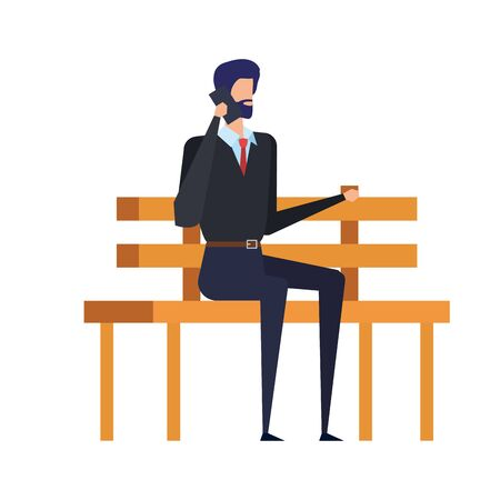 businessman calling with smartphone seated in the park chair vector illustration Illusztráció