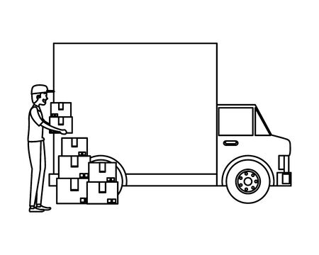 worker of delivery service with truck and boxes vector illustration design Illusztráció