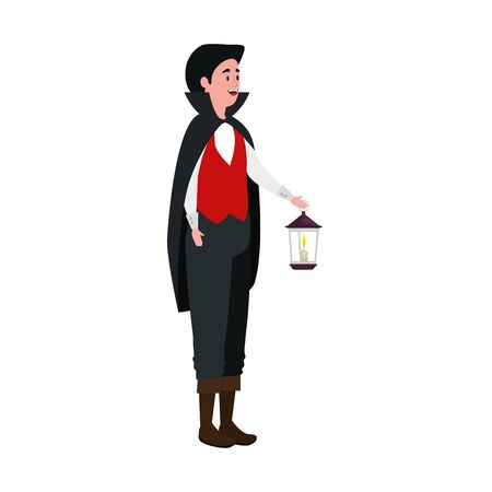 young man disguised vampire with lantern vector illustration design Ilustracja