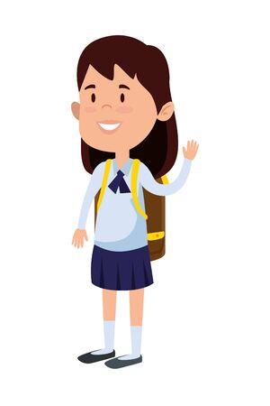 happy student girl with school bag vector illustration design