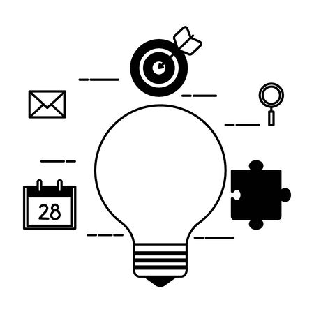 bulb light with set icons vector illustration design