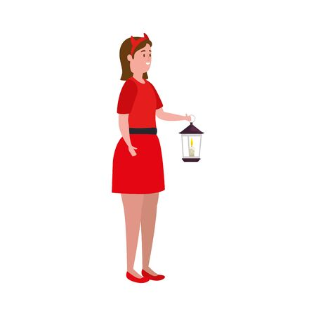 young woman disguised devil with lantern vector illustration design