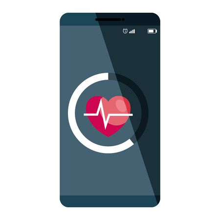 smartphone technology with heart cardio application vector illustration design Illusztráció