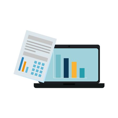 laptop computer with bars statistics and documents vector illustration design
