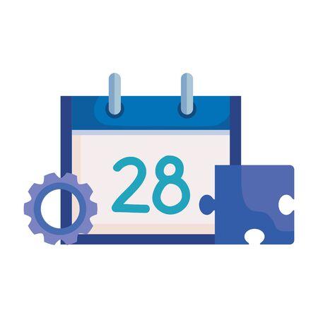 calendar reminder with gear and puzzle vector illustration design Ilustração