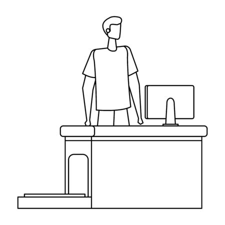 man working in airport with computer vector illustration design 일러스트