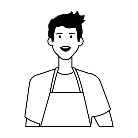 happy young artist man with apron vector illustration design 일러스트