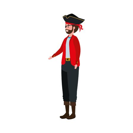young man disguised pirate avatar character vector illustration design Ilustracja