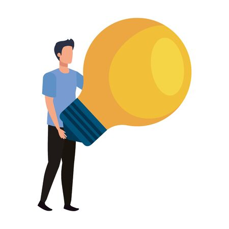 young man with light bulb avatar character vector illustration design