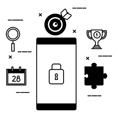 smartphone device with padlock and set icons vector illustration design 일러스트