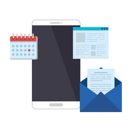 smartphone with calnedar and email vector illustration design 일러스트