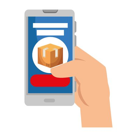 hand using smartphone with delivery box app vector illustration design