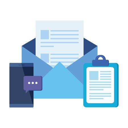 checklist clipboard with envelope mail vector illustration design Illusztráció