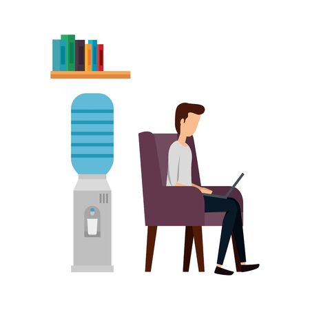 businessman worker in the sofa using laptop vector illustration design