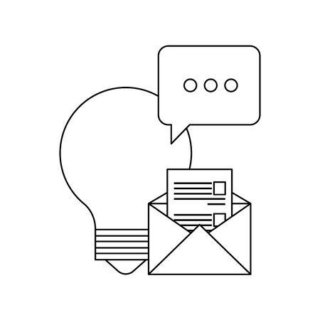 bulb light idea with envelope and speech bubble vector illustration design Ilustração