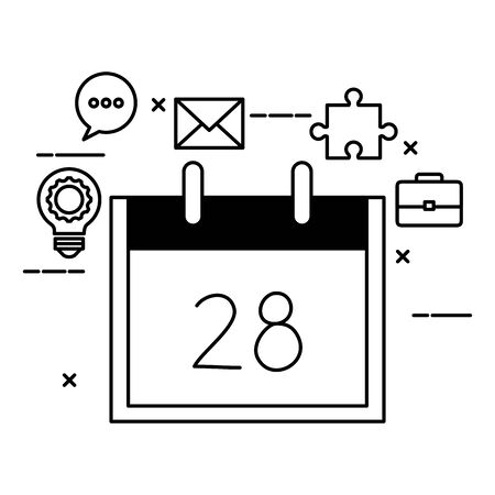 calendar reminder date with set icons vector illustration design