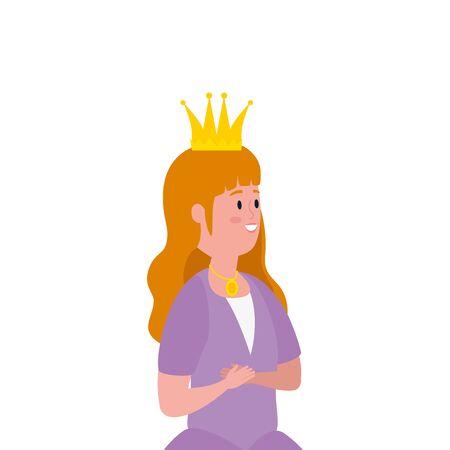 beautiful princess fairytale avatar character vector illustration design Illustration