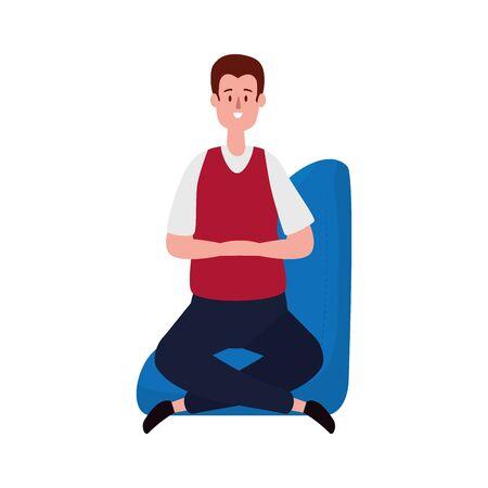 elegant businessman seated in the sofa vector illustration design