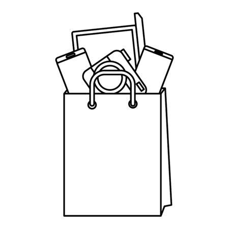 shopping bag with electronic devices vector illustration design Illusztráció