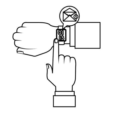 hands with smartwatch sending email vector illustration design Ilustrace