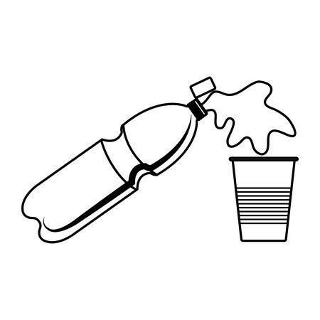 plastic bottle serving liquid in disposable cup vector illustration design Archivio Fotografico - 133907854
