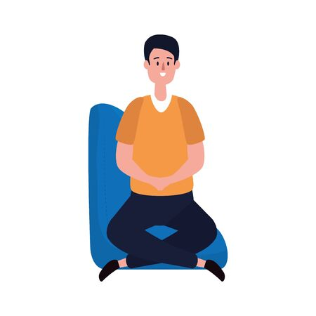 elegant businessman seated in the sofa vector illustration design