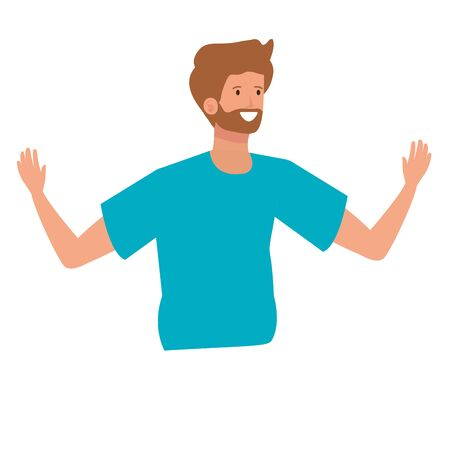 happy young man with beard celebrating character vector illustration design Foto de archivo - 133907916