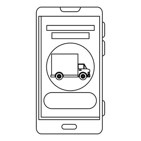 smartphone with delivery truck app vector illustration design 일러스트