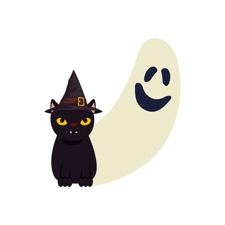 halloween ghost and cat black with hat witch vector illustration design