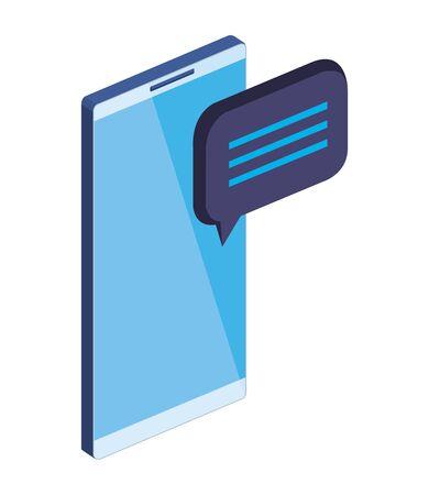 smartphone device with speech bubble message vector illustration design Ilustrace