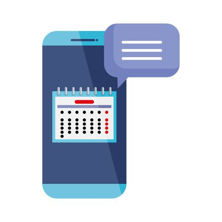 calendar date reminder with smartphone and speech bubble vector illustration