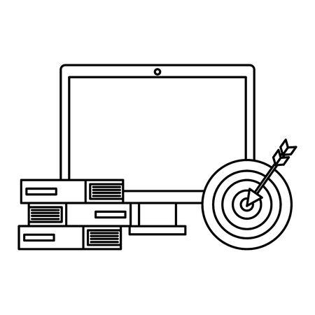 computer with target success and books vector illustration design Ilustração