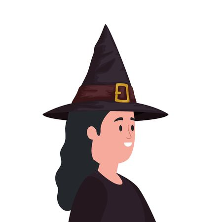 young woman disguised witch isolated icon vector illustration design