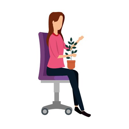 businesswoman with houseplant seated in office chair vector illustration design