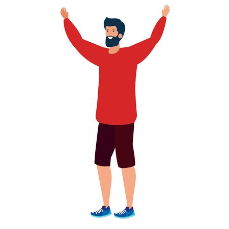 happy young man with beard celebrating character vector illustration design