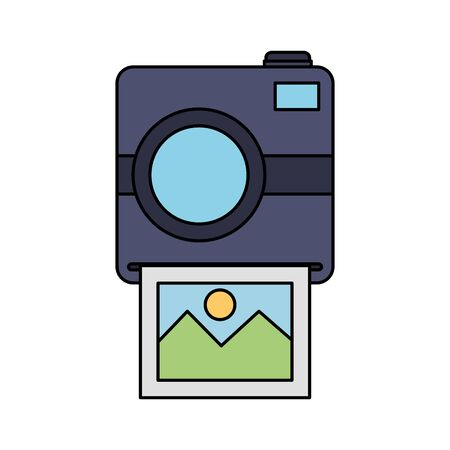 photographic camera with picture snapshot vector illustration design  イラスト・ベクター素材