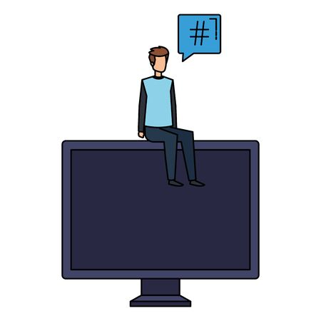 young man seated in computer with speech bubble vector illustration design