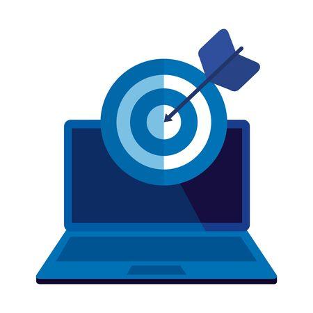 laptop computer with target arrow success vector illustration design Ilustracja