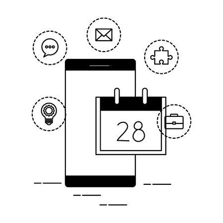 smartphone with calendar and social media icons vector illustration design