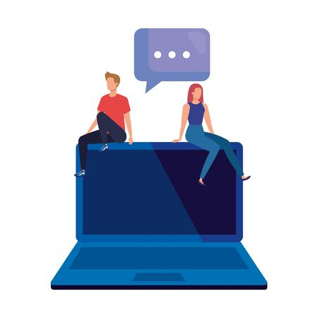 young couple sitting in laptop with speech bubble vector illustration design