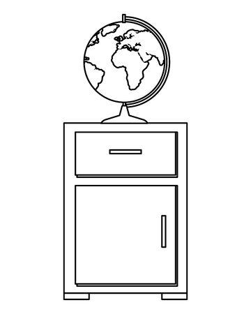 world map earth in drawer wooden vector illustration design 일러스트