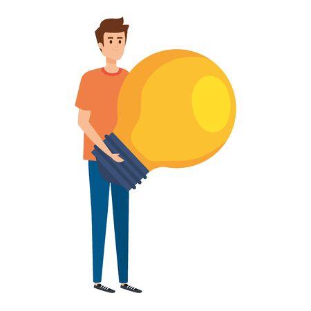 young man lifting bulb light vector illustration design