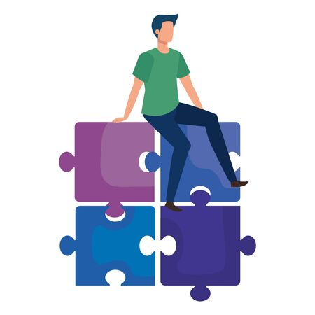 young man sitting in puzzle pieces vector illustration design