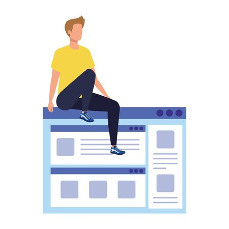 young man sitting in web page vector illustration design 일러스트